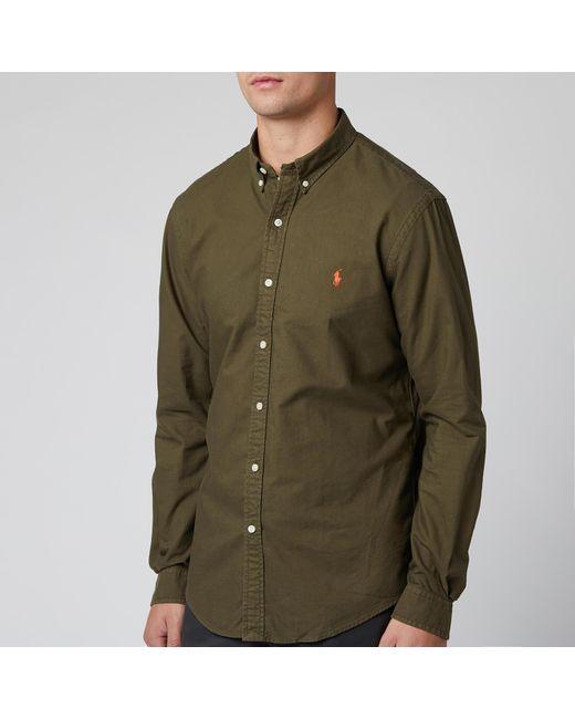 Polo Ralph Lauren Green Slim Fit Garment Dyed Oxford Shirt for men