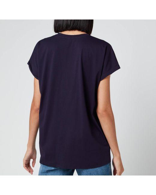 Balmain Blue Satin Logo T-shirt