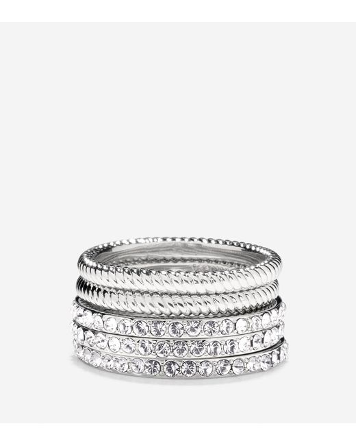 Cole Haan | Metallic Brilliant Cubic Zirconia Swarovski Stacked Ring Set | Lyst