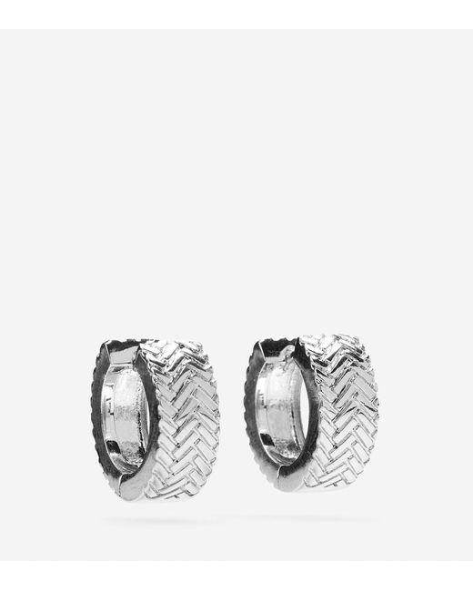 Cole Haan   Metallic Basket Weave Huggy Earrings   Lyst