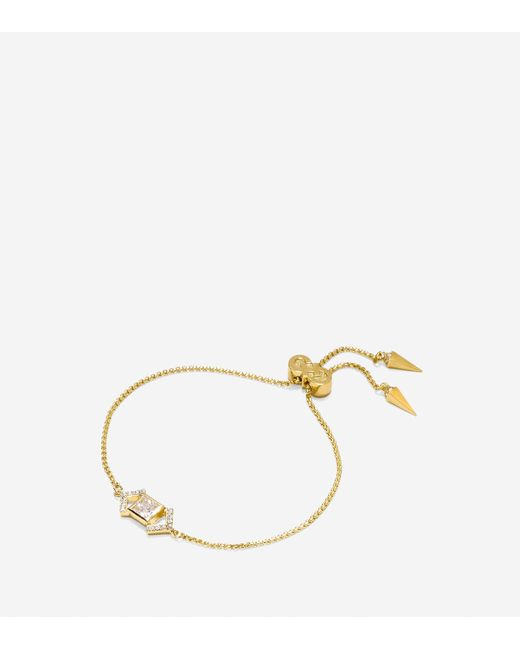 Cole Haan | Metallic Love Triangle Cz Triangle Chain Pull-tie Bracelet | Lyst