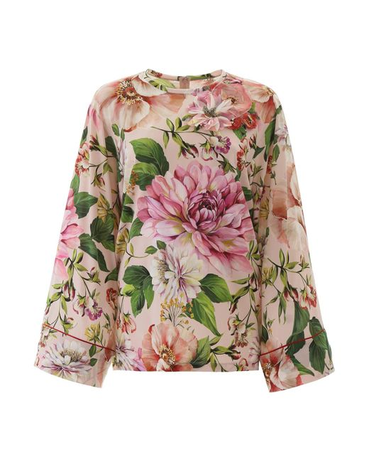 Dolce & Gabbana Multicolor Floral-printed Blouse