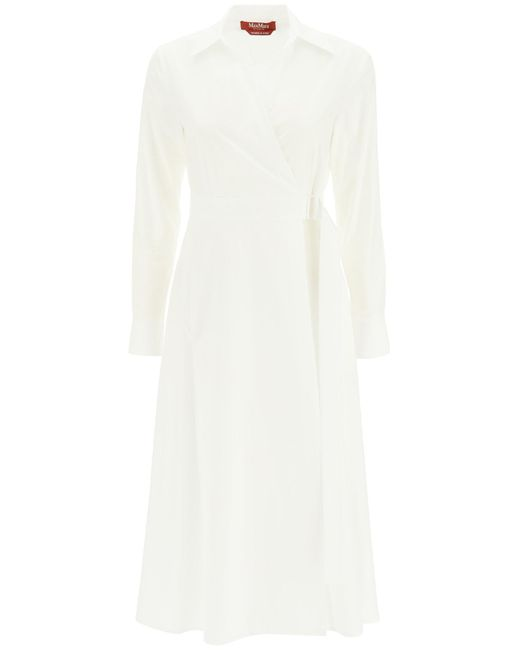 Max Mara Studio White Jack Poplin Midi Dress