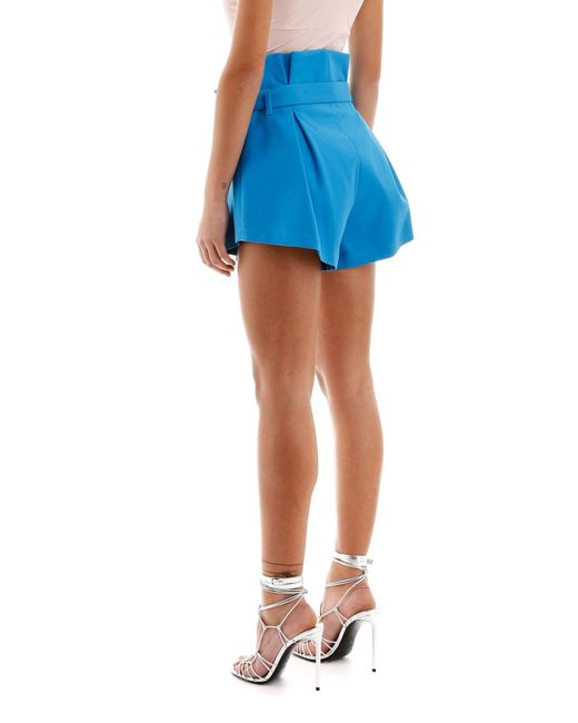 The Attico Women's Blue Paperbag Waist Pleated Shorts