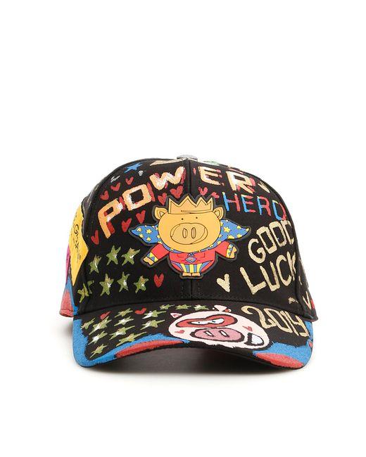 Lyst - Dolce   Gabbana Hero Pig Grafitti Baseball Cap in Black for ... 016e05a6887f
