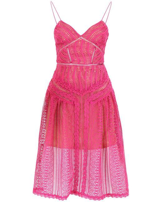 Self-Portrait Pink Lace Midi Dress