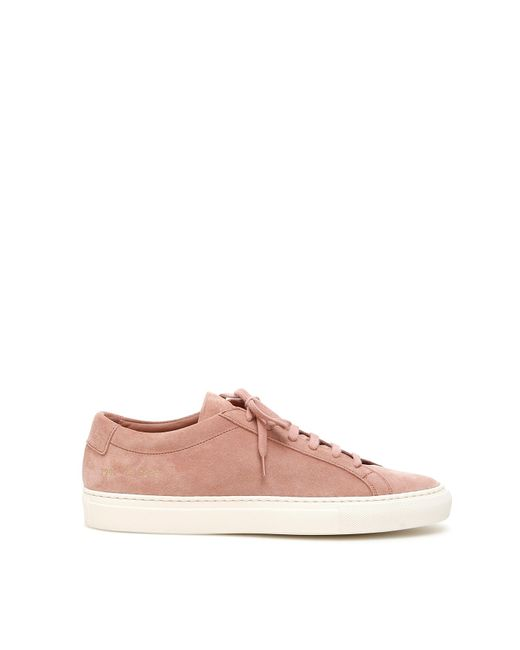 Common Projects Pink Original Achilles Low Suede Sneakers