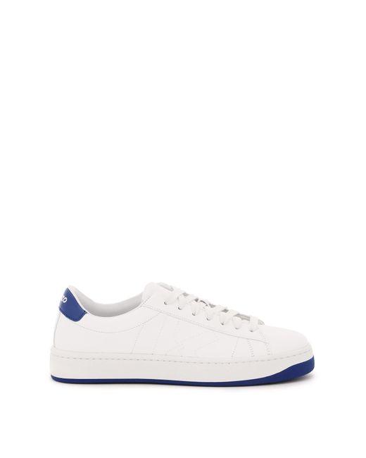 KENZO White Kourt Leather Sneakers