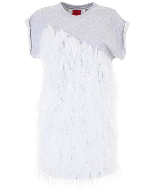 Moncler Gamme Rouge - Gray Feather Sweatshirt Dress - Lyst