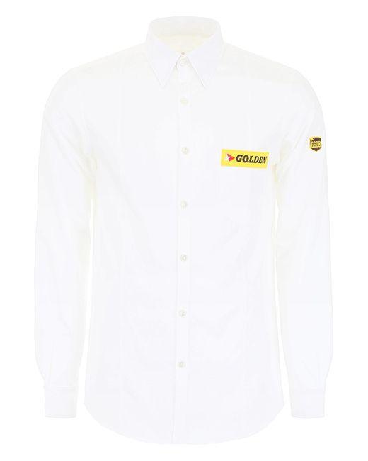 Golden Goose Deluxe Brand White Logo Patch Shirt for men