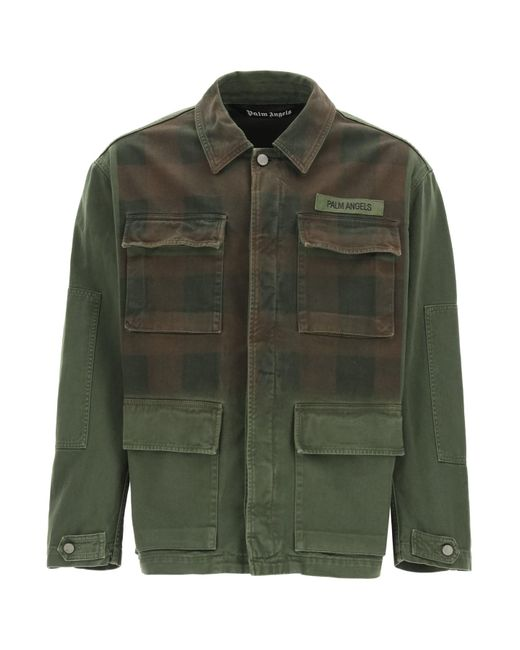 Palm Angels Green Military Buffalo Jacket With Logo Print S Cotton for men