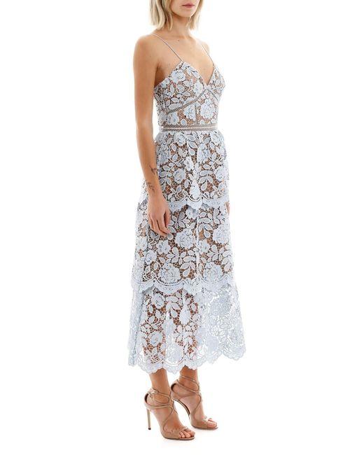 Self-Portrait Blue Flower Lace Midi Tiered Dress