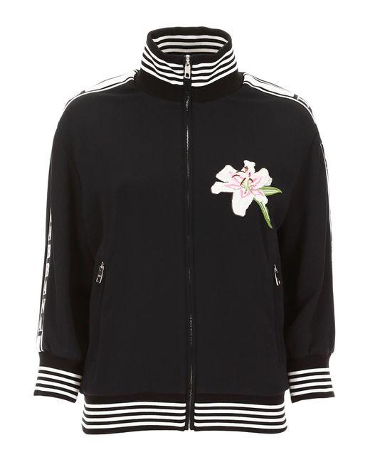 Dolce & Gabbana Black Lily Patch Sweatshirt
