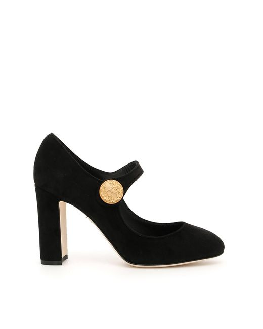 Dolce & Gabbana Black Suede Mary Jane Pumps