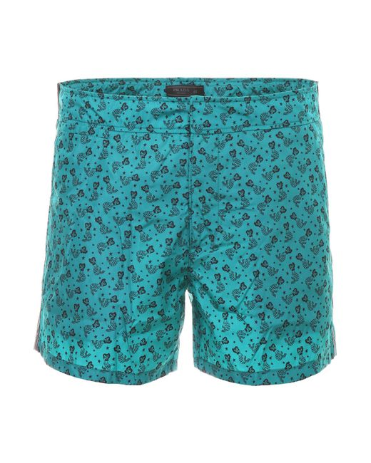 Prada - Blue Tropical Nylon Swim Shorts for Men - Lyst
