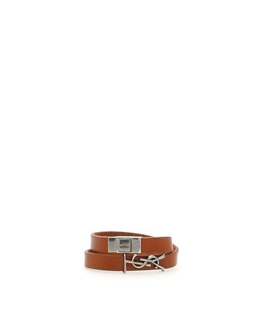 Saint Laurent - Brown Leather Bracelet for Men - Lyst