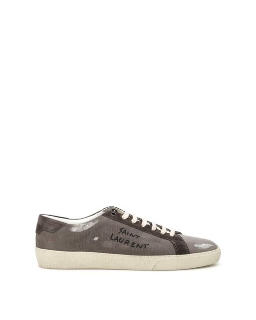 Saint Laurent Gray Canvas Sneakers With Logo for men