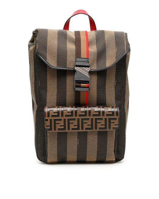 a0f290cb271 Fendi - Multicolor Ff Striped Canvas Backpack for Men - Lyst ...