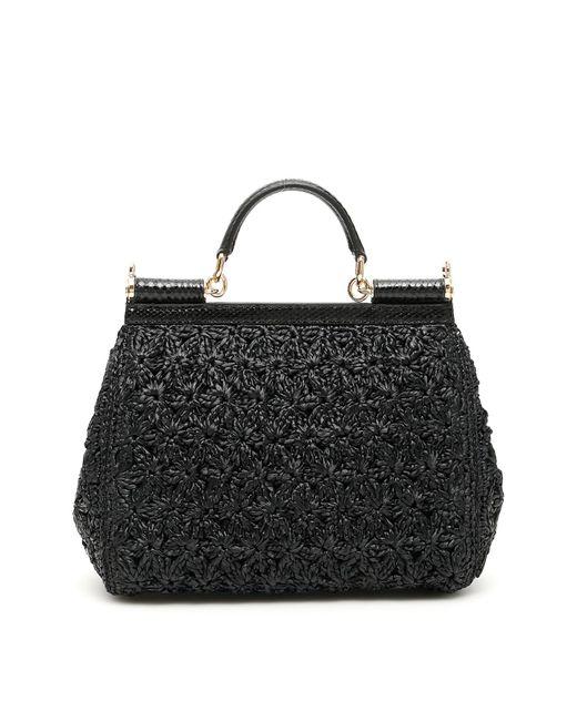 7f741d491e61 ... Lyst Dolce   Gabbana - Black Crochet Raffia Sicily Bag ...