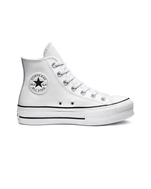Converse White Clean Leather Platform Chuck Taylor All Star