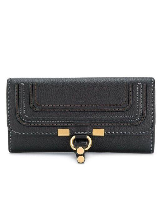 Chloé Black Marcie Long Leather Wallet