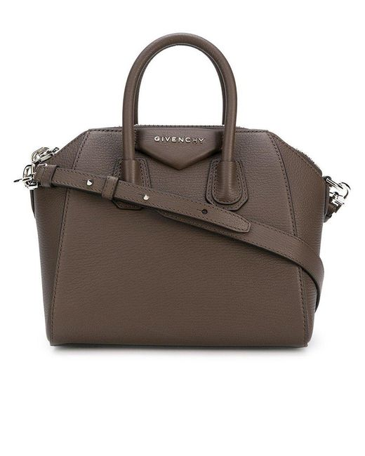 Givenchy Mini Antigona Bag In Grained Leather Brown