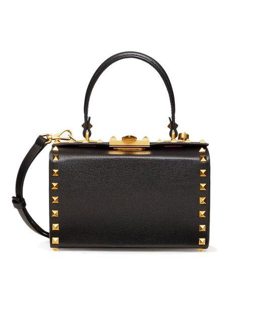 Valentino Black Rockstud Alcove Grainy Calfskin Box Bag