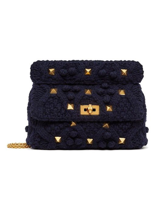 Valentino Blue Large Cashmere Roman Stud The Shoulder Bag With Chain
