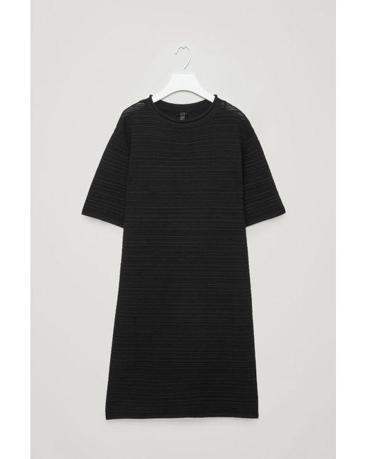 COS - Black Rippled Cotton T-shirt Dress - Lyst