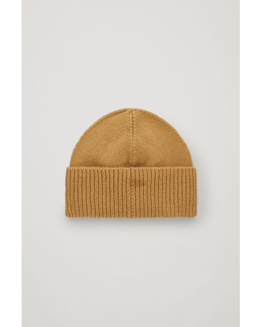 buy popular 19878 422aa COS - Yellow Cotton-knit Fold-over Hat for Men - Lyst