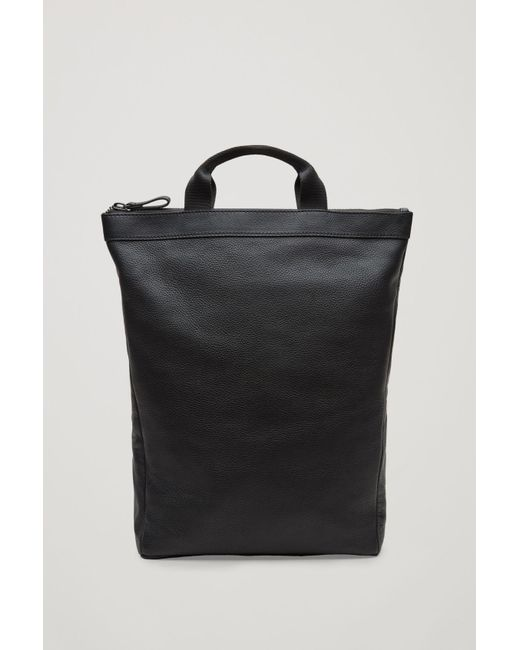 COS - Black Leather Tote Backpack for Men - Lyst