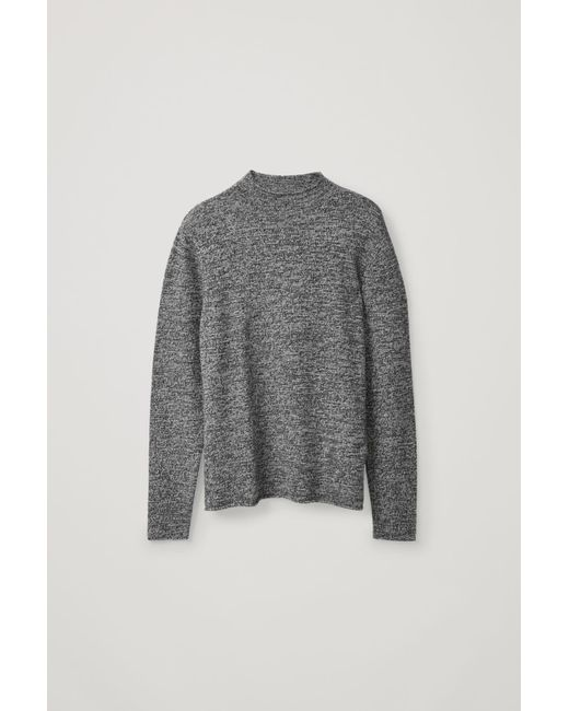 COS Black Cashmere Jumper With Rolled Edges