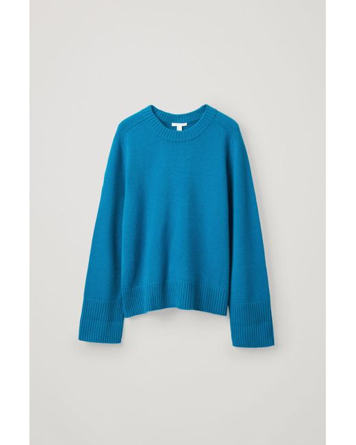 COS Blue Cashmere Sweater With Rib Detail