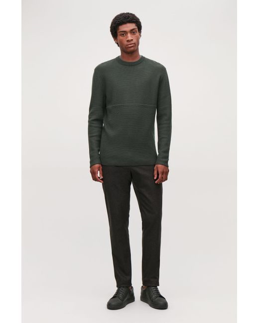 COS - Green Jacquard-knit Merino Jumper for Men - Lyst