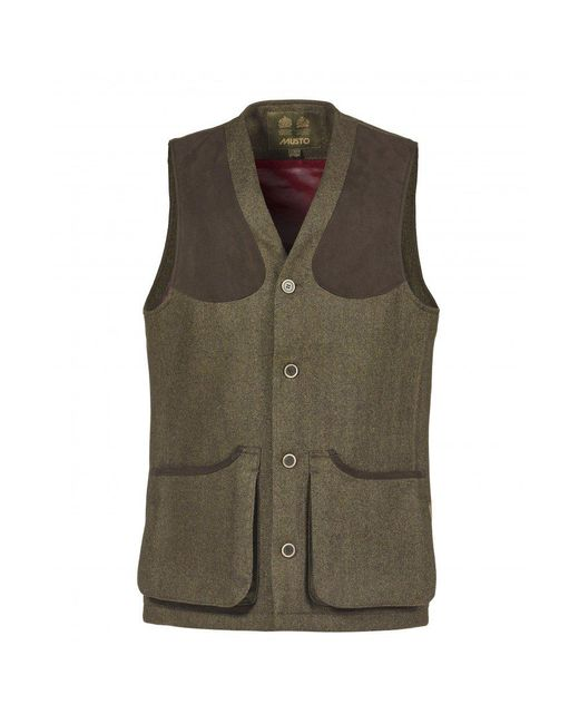 Musto | Green Stretch Technical Tweed Mens Waistcoat for Men | Lyst