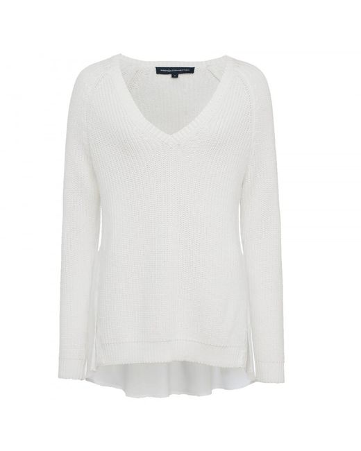 French Connection - White Mozart Hybrid Knits Long Sleeve Womens V-neck Jumper - Lyst