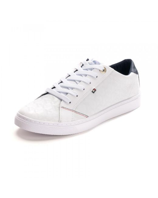 Tommy Hilfiger White Womens Tommy Jacquard Leath Sneakers