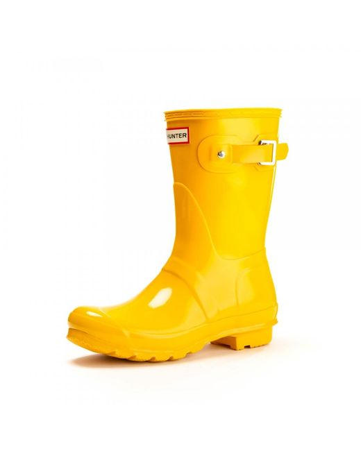 Hunter - Yellow Original Short Gloss Ladies Wellingtons - Lyst