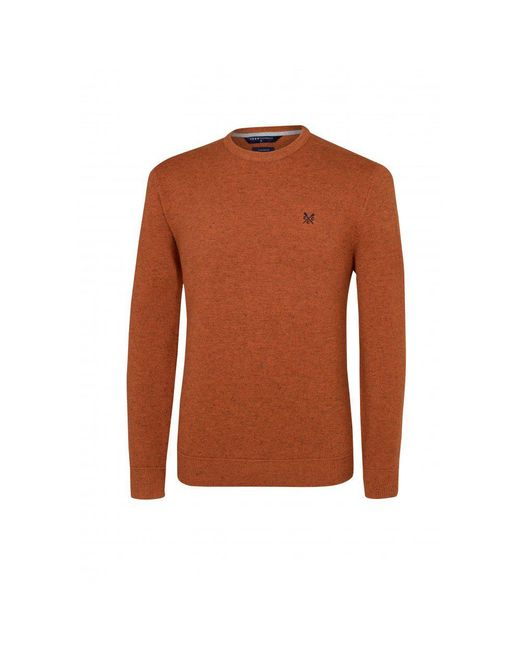Crew - Brown Castel Merino Crew Neck Mens Jumper for Men - Lyst