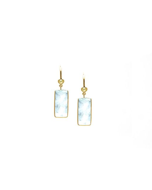 Trésor   Metallic K Yellow Gold Earring With Aquamarine And Champagne Diamond Default Title   Lyst