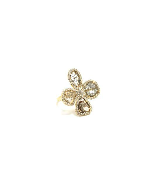 Trésor | Metallic Organic Diamond Flower Ring With White Diamond Pave Frame Set In K Yellow Gold | Lyst