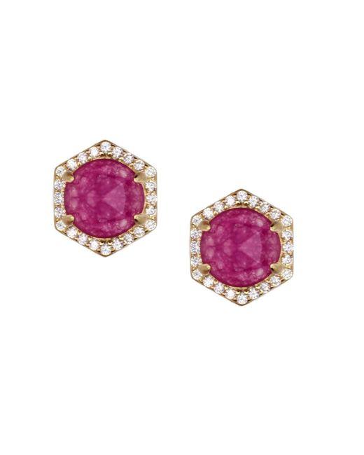 Rachael Ryen - Multicolor Hexagon Pave Studs - Purple Jade - Lyst