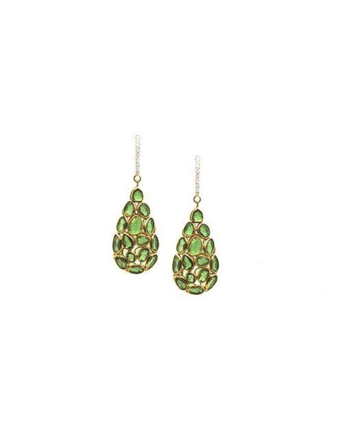 Trésor   Green K Yellow Gold, Tsavorite Garnet And Diamond Earrings   Lyst