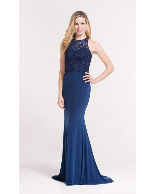 Lyst Alyce Paris 27183 Halter Beaded Lace Jersey Evening Dress In Blue