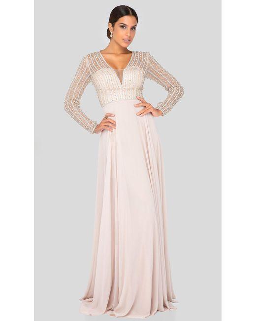 Terani Couture Pink 1911m9326 Bead-striped Sheer Long Sleeve Chiffon Gown