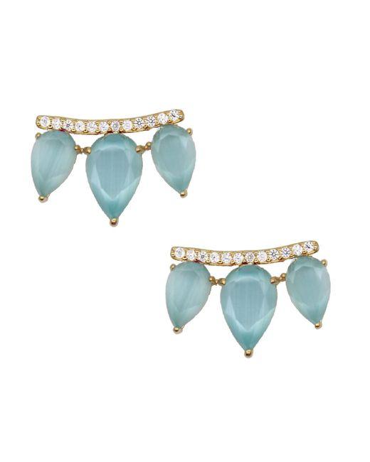 Rachael Ryen   Blue Gemstone Wing Studs - Aqua   Lyst
