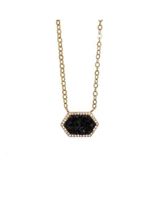 Rachael Ryen - Metallic Hexagon Pave Necklace - Black Druzy - Lyst