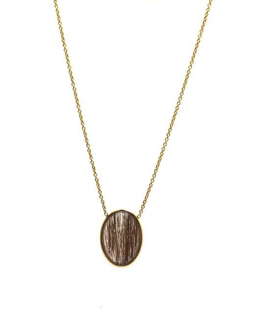 Trésor | Metallic Copper Rutile Oval Necklace In K Yellow Gold | Lyst
