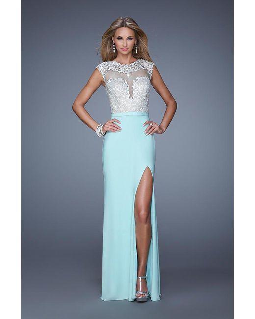 27de541fc5e4 Lyst - La Femme 21065 Cap Sleeve Illusion Lace Gown in Blue