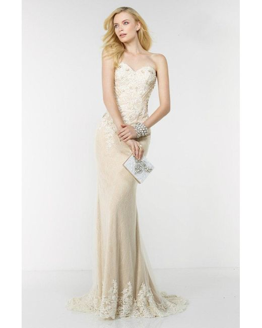 Lyst - Alyce Paris Lace Prom Dress In Ivory Nude in White
